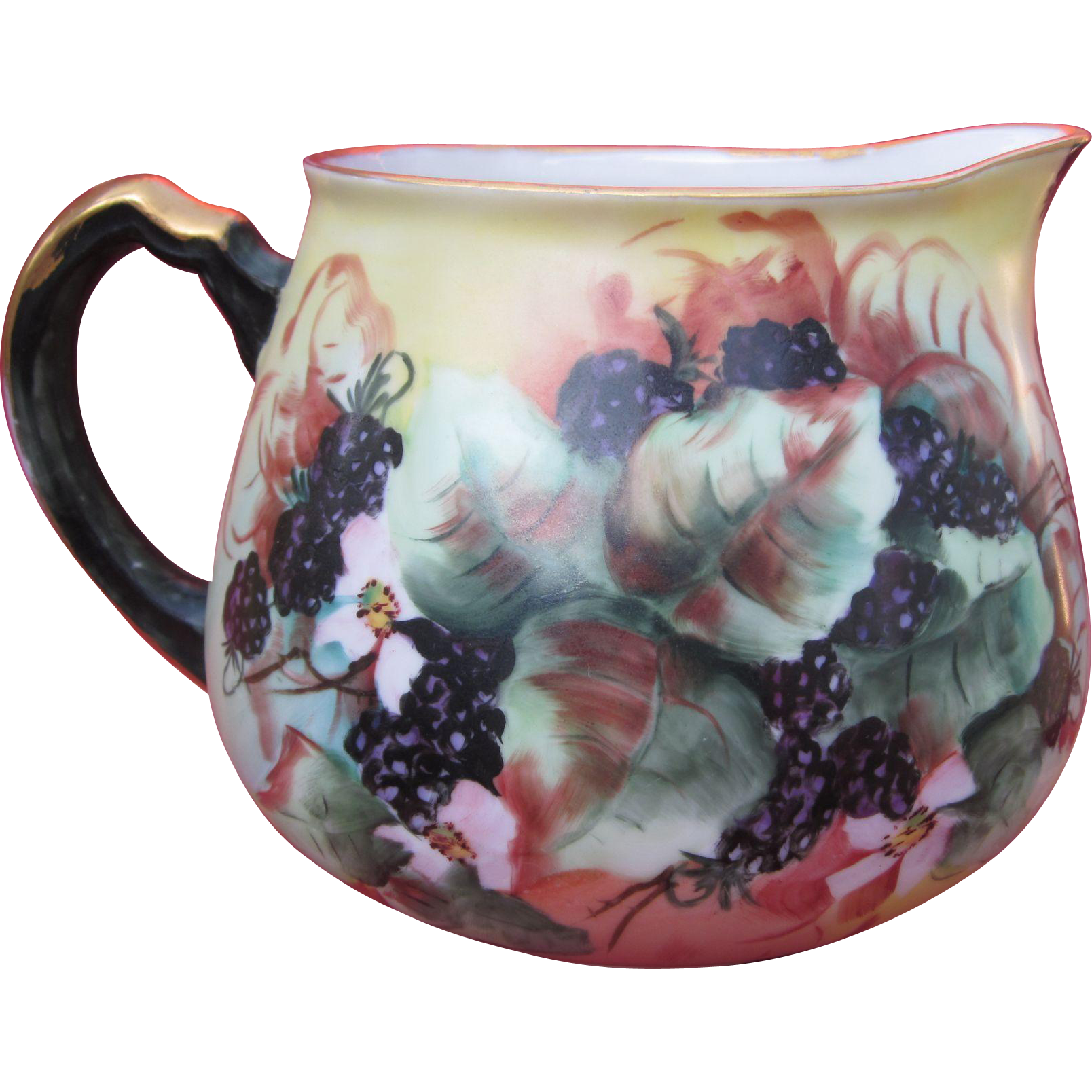 Limoges Hand Painted Berries Cider Pitcher