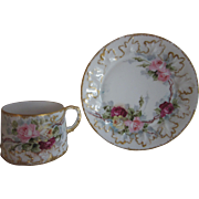 Old Hand Painted Roses Cup & Saucer Signed