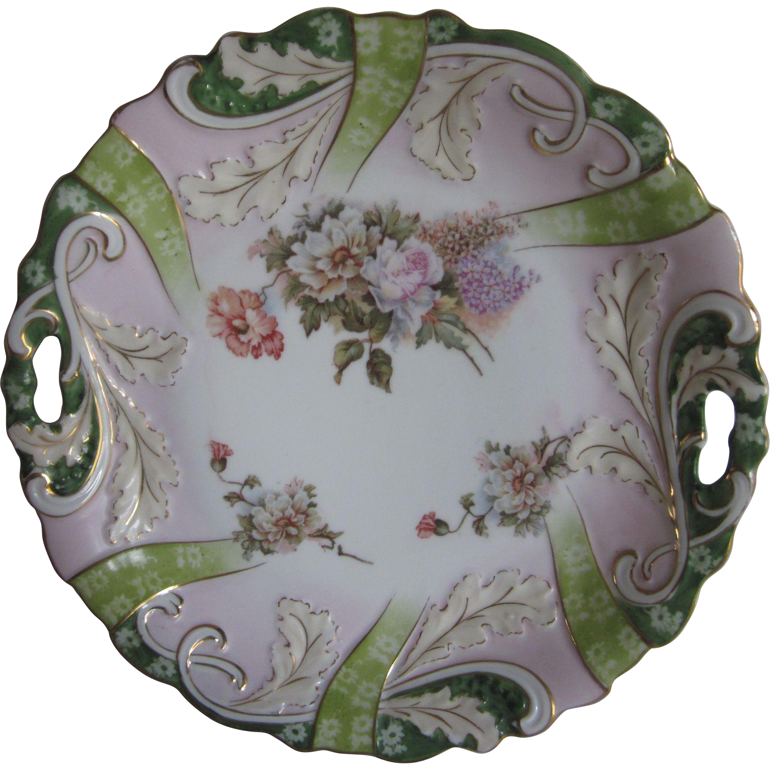 Old Porcelain Flowers Cake Plate