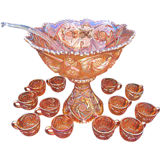 Imperial Glass Marigold Whirling Star Punch Set
