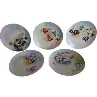 Hand Painted & Artist Signed Bavaria 5 Plates Set