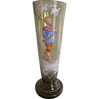 Antique Moser Bohemian Portrait Vase  10""