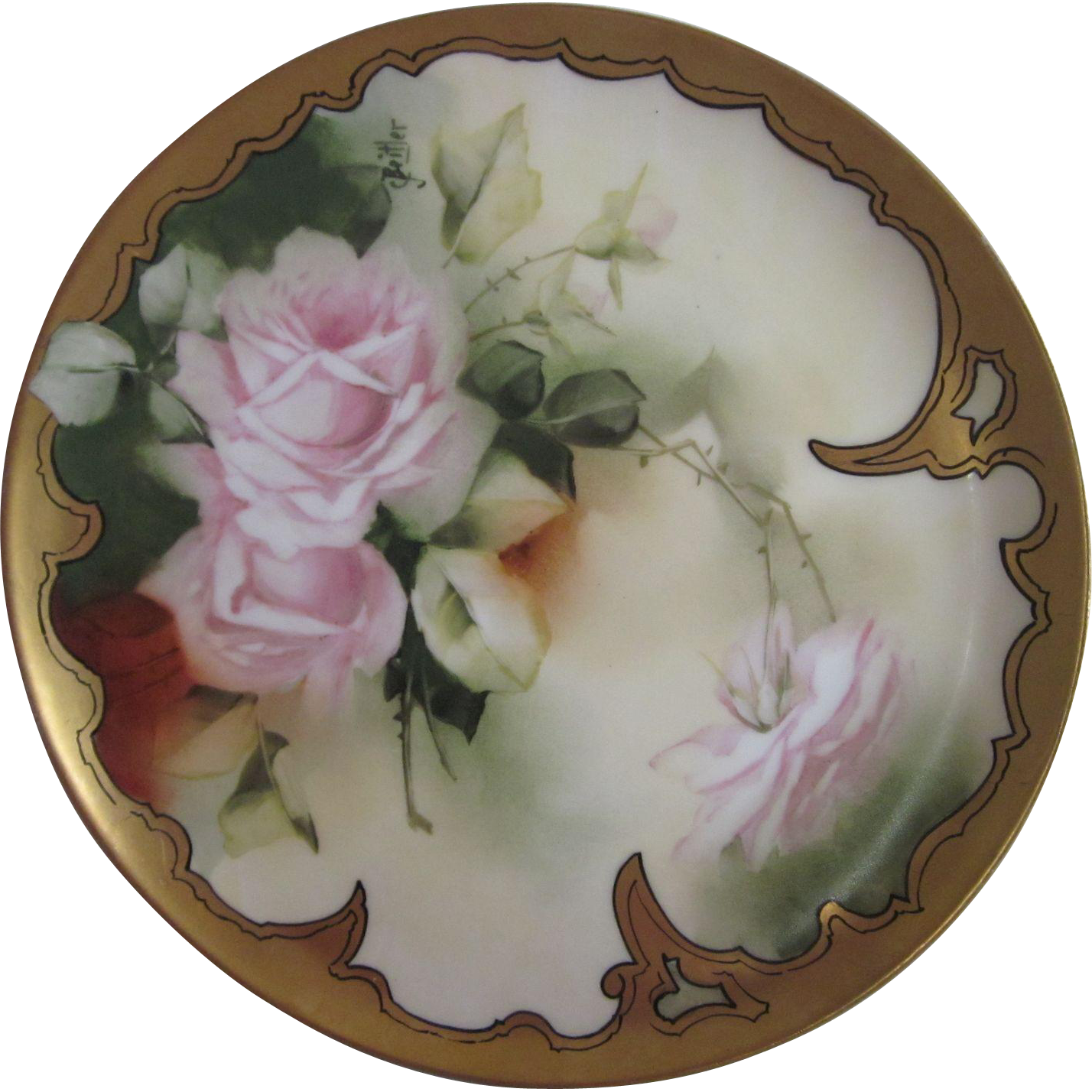 Hand Painted Roses Pickard / Haviland Plate Signed