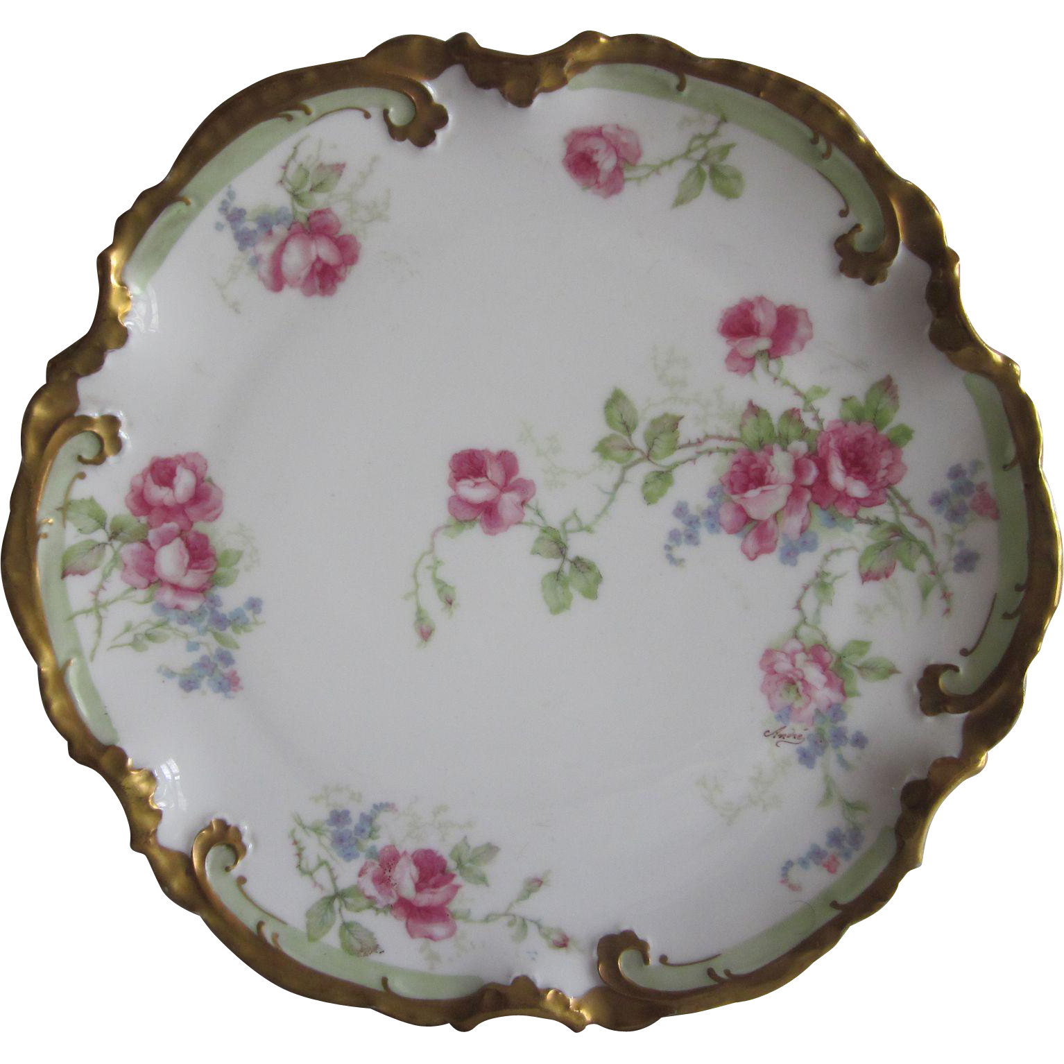 Old Coronet Limoges  Pink Roses Plate