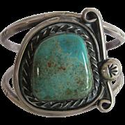 "Vintage  Unmarked Sterling Turquoise Cuff Bracelet  7.25"""