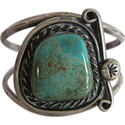 Vintage  Unmarked Sterling Turquoise Cuff Bracelet  7.25""