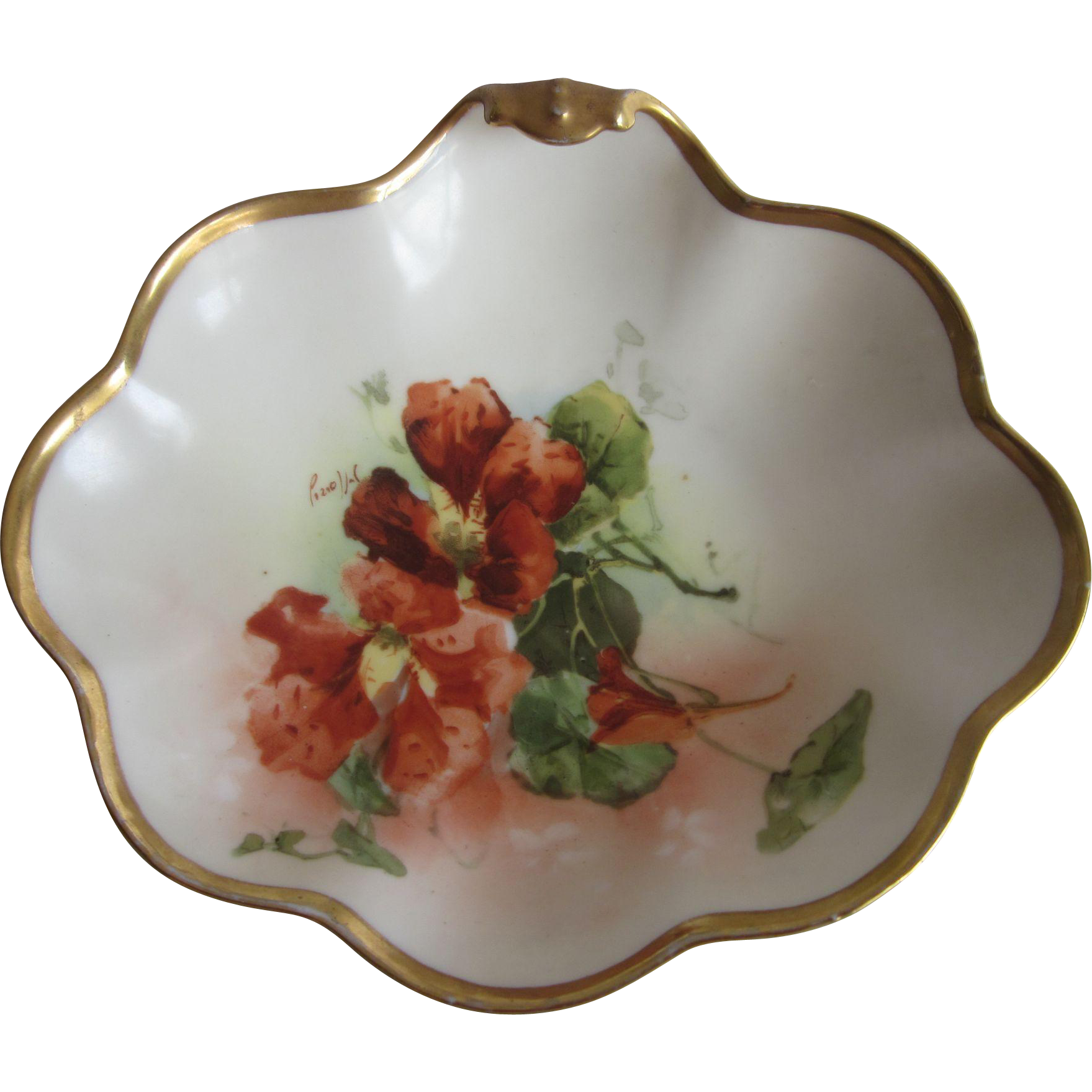 Old Hand Painted Poppy Limoges Shell Dish Signed