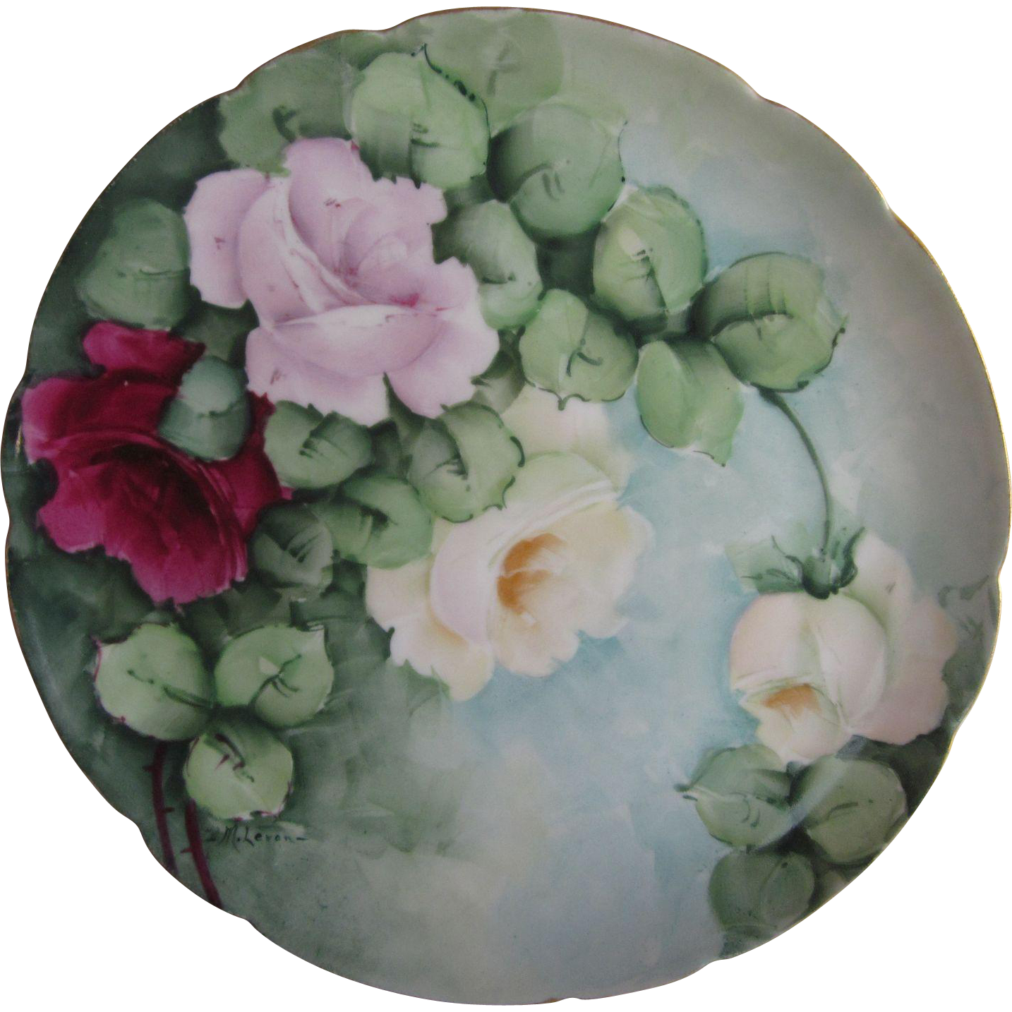 Old Theodore Haviland  Hand Painted Roses Plate  Signed