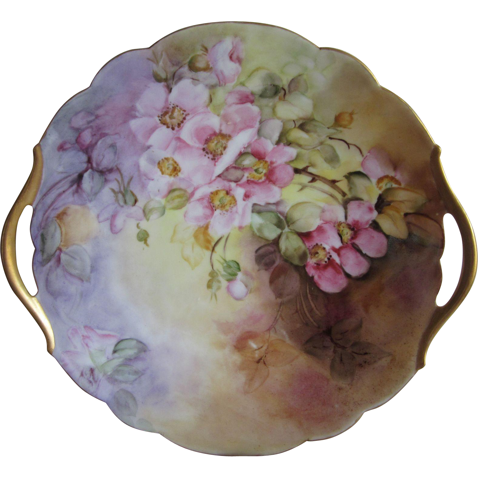 T & V Limoges Hand Painted Pink Wild Roses Cake Plate