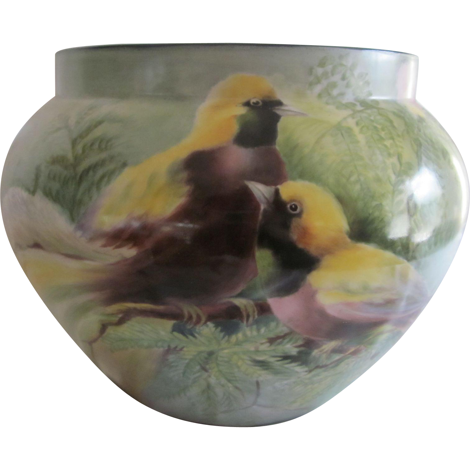 Antique D & C France Hand Painted Birds & Flowers Jardiniere