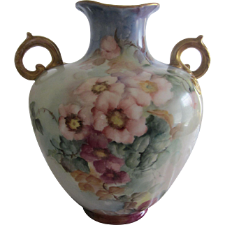 Antique Vienna Austria Hand Painted Wild Roses Vase
