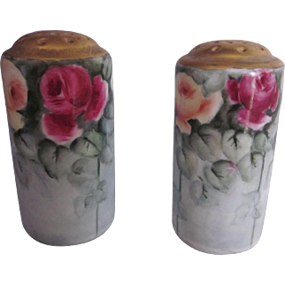 Old Hand Painted Roses Porcelain Shakers