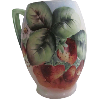 Old Hand Painted Strawberries  Bavaria Porcelain Mug