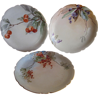 Three Hand Painted Limoges Fruit Plates 6 1/4""