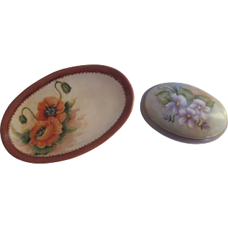 Hand Painted Poppies Soap Dish  & Violets Trinket Box