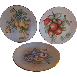 Hand Painted  Apples - Pears- Pansies Plates Signed
