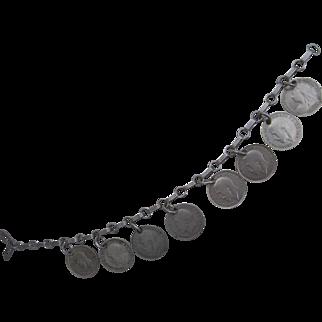 Old Silver Coins Charm Bracelet Pre 1940