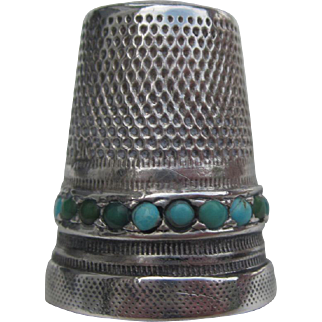 Vintage Sterling Silver & Turquoise Thimble