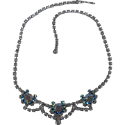 Vintage Clear & Blue  Rhinestones Necklace