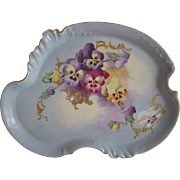Antique Limoges Hand Painted Pansies Tray