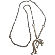 Vintage Sterling Silver Kokopelli Necklace