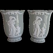 Vintage Celadon Pate Sur Pate Vases