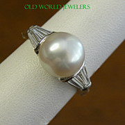 18K White Gold 10mm Cultured Pearl Ring with Baguette Diamonds