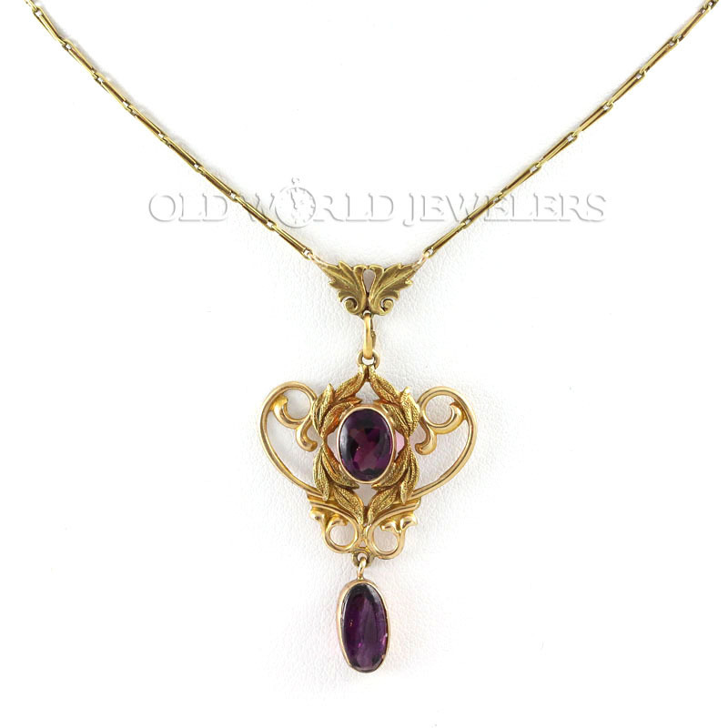 Art Nouveau Necklace w/Purple Glass Dangle