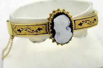 14K Yellow Gold Bangle Bracelet with Cameo and Enamel Tracery