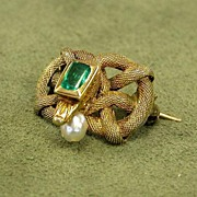 14K Yellow Gold Victorian Snake Emerald & Pearl Pin