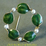 "14K Yellow Gold Cultured Pearl and Enamel ""Leaf"" Brooch"