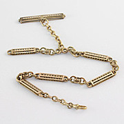 14K Yellow Gold Antique  Handmade Mixed Link Watch Chain