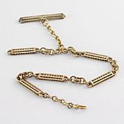 14K Yellow Gold Antique  Handmade Mixed Link Watch Chain