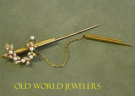 18K Yellow Gold Sword Brooch made by Birks,Circa 1900
