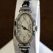 18K White Gold  Swiss Ladys Deco Watch on Black Cord