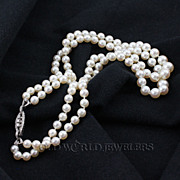 Double Strand Cultured Pearls with Interesting Custom Diamond Clasp