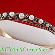 9K Pearl & Rose Cut Diamond Bangle Bracelet