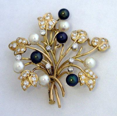 14K Handmade Pearl Diamond Brooch