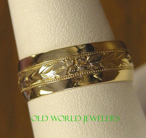 14K B & N Hand Engraved Wedding Band