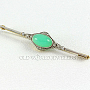 Edwardian Style Bar Pin w/Cabochon Chrysoprase