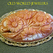18K Carved Coral Floral Cameo Brooch
