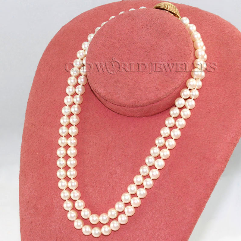 Double Strand 7mm Cultured Pearl Necklace
