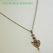14K Edwardian Diamond & Seed Pearl Lavelier