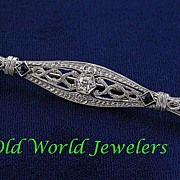14K White Gold Filigree Bar Pin .25ct European Cut Diamond