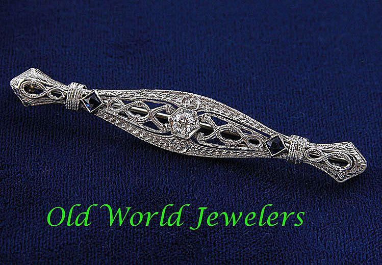 14K White Gold Filigree Bar Pin .25ct European Cut Diamond