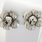 Georg Jensen Sterling Flower Earrings #109