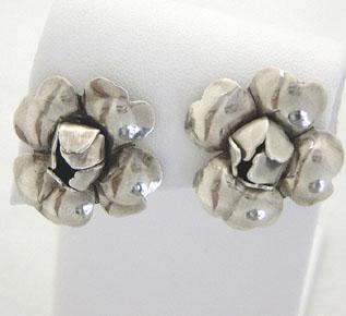 Georg Jensen Sterling Flower Earrings #109