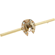 Antique 14K Yellow and Rose Gold Horseshoe Bar Pin with Diamonds