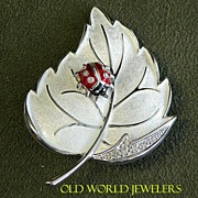 Sterling Silver Diamond Ladybug Leaf Pin