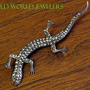 Small Sterling Silver Lizard Pin with Marcasites
